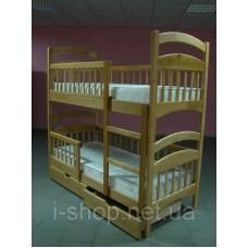 Двухъярусная кровать Карина Люкс усиленная + ящики + матрасы ЧЕМПИОН (цвет орех)