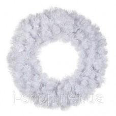 Венок 60 см декоративный искусственный Icelandic iridescent белый с блеском